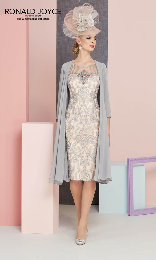 991329 Steel Blossom Veni Infantino Dress & Chiffon Coat