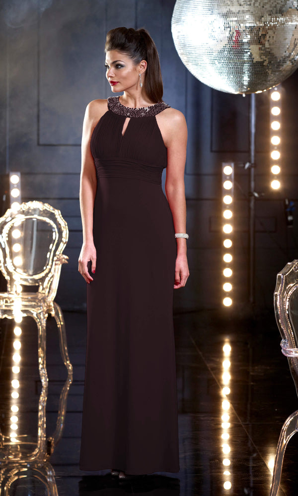 VO1300 Black Veromia Occasions Evening Dress With Collar