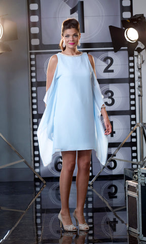 VO1423S8 Capri Blue Veromia Occasions Chiffon Dress