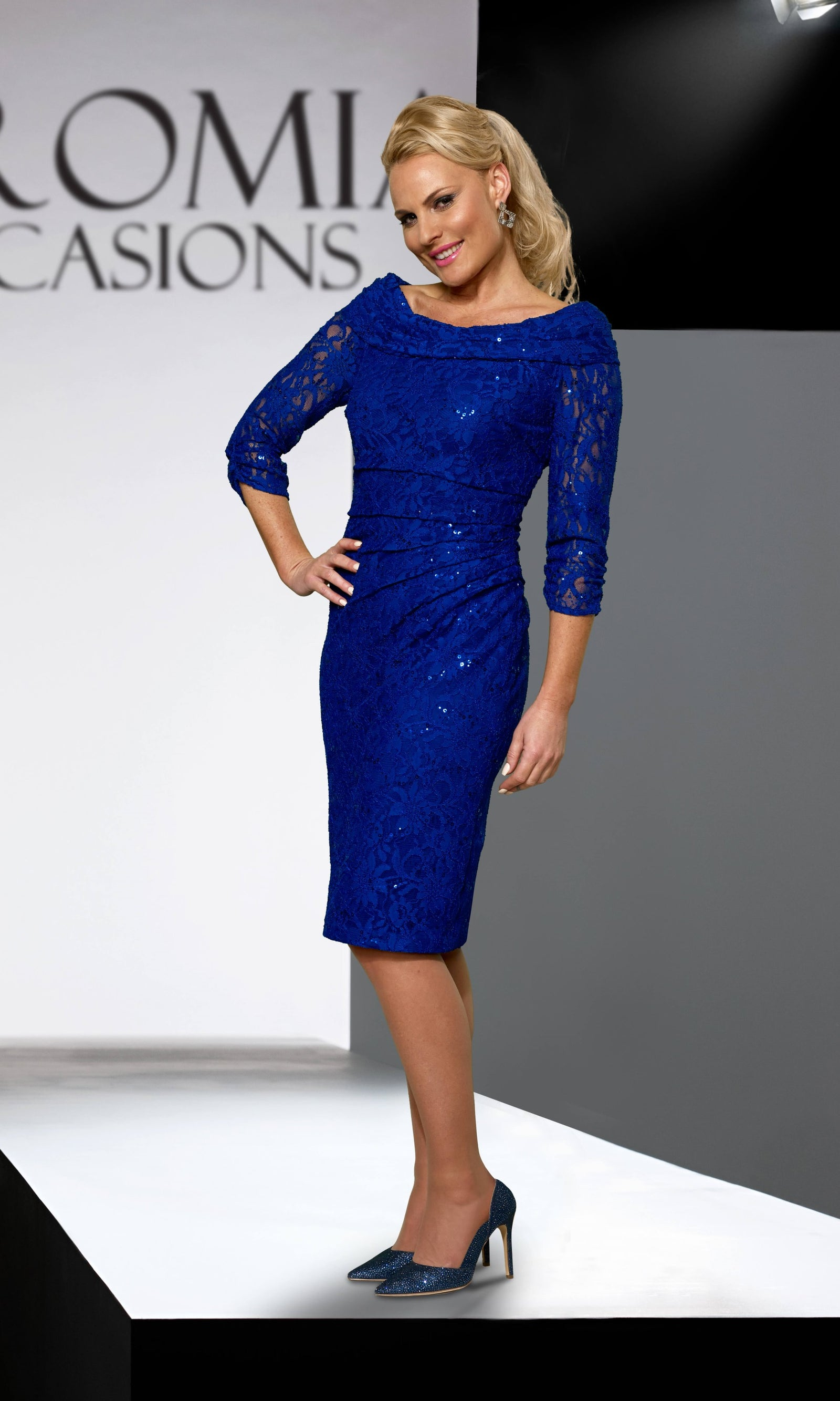 VO2204A9 Cobalt Veromia Occasions Lace Sparkle Cocktail Dress