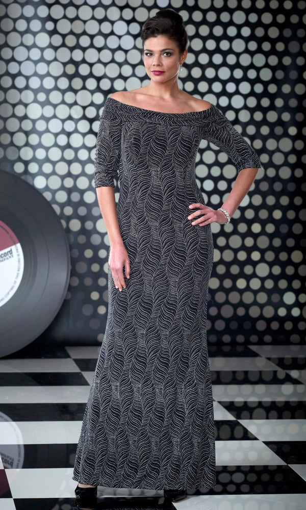 VO3010 Black Silver Veromia Occasions Sparkle Bardot Dress