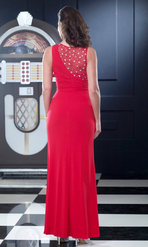 VO3013 Red Veromia Occasions Jersey Evening Gown