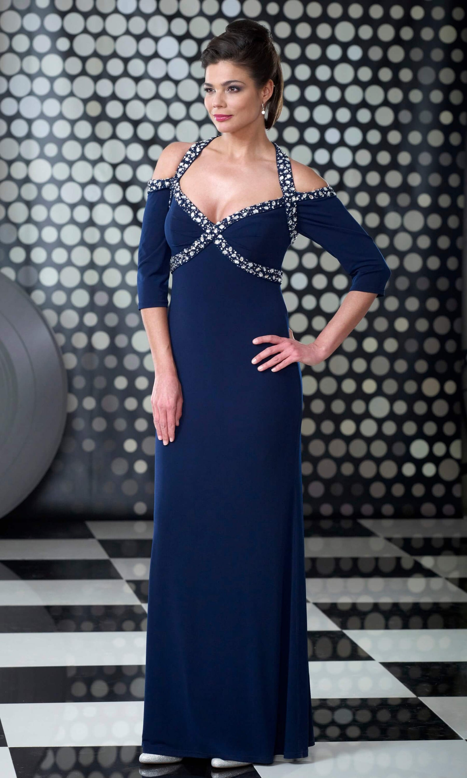 VO3014 Navy Veromia Occasions Cold Shoulder Evening Dress - Fab Frocks