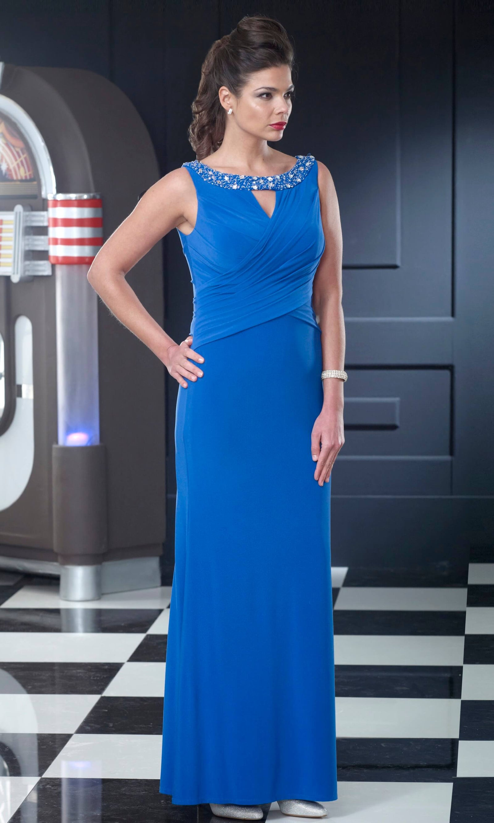 VO3015 Cobalt Veromia Occasions Long Evening Dress - Fab Frocks