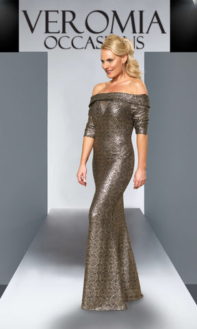 VO4202 Gold Black Veromia Occasions Bardot Evening Dress - Fab Frocks