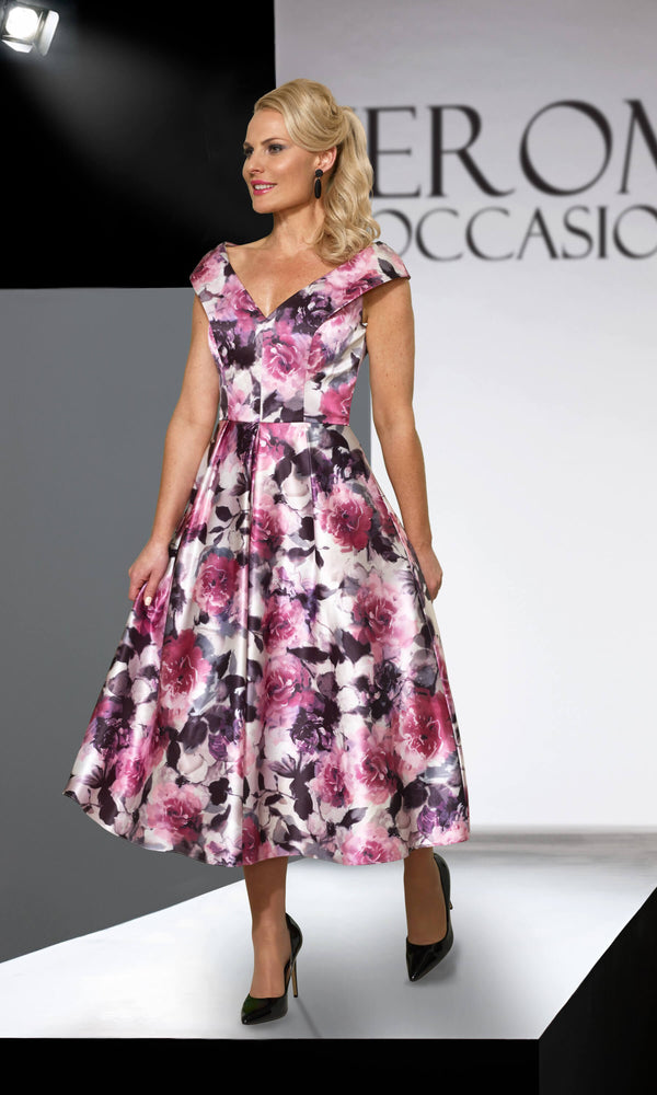 VO4283 Pink Veromia Occasions A-Line Floral Print Dress