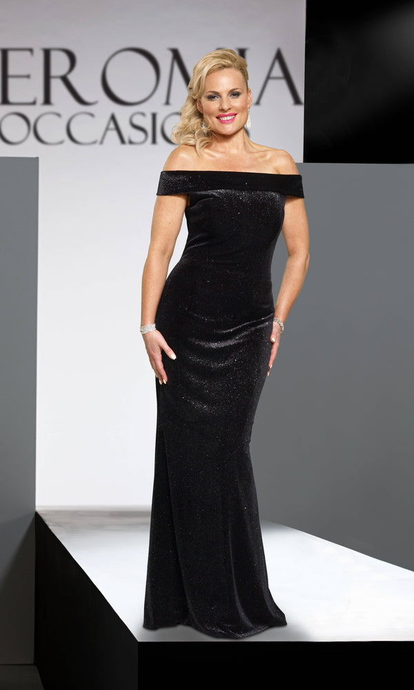 VO4289 Black Veromia Occasions Glitter Velvet Bardot Dress