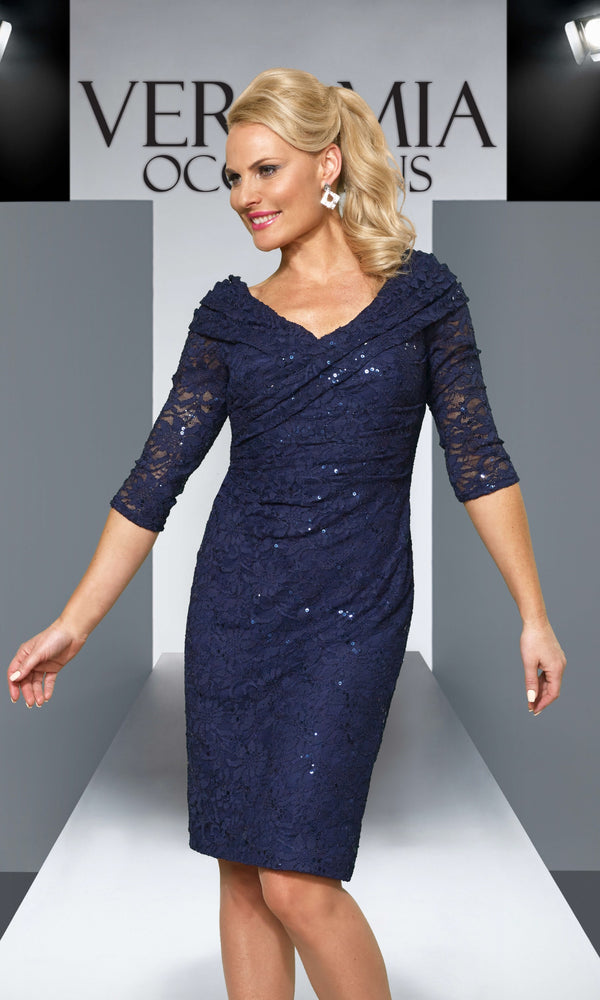 VO4552 Navy Veromia Occasions Lace Cocktail Dress - Fab Frocks