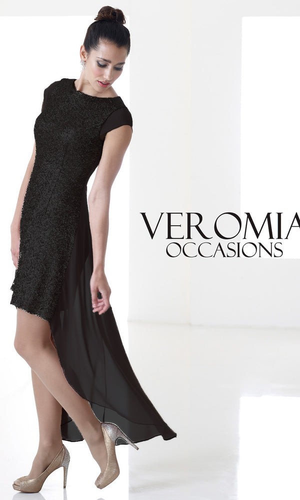 VO4571 Black Veromia Occasions Hi-Lo Cocktail Dress