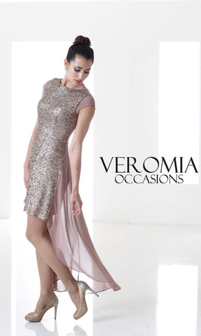 VO4751 Latte Veromia Occasions High-Low Cocktail Dress