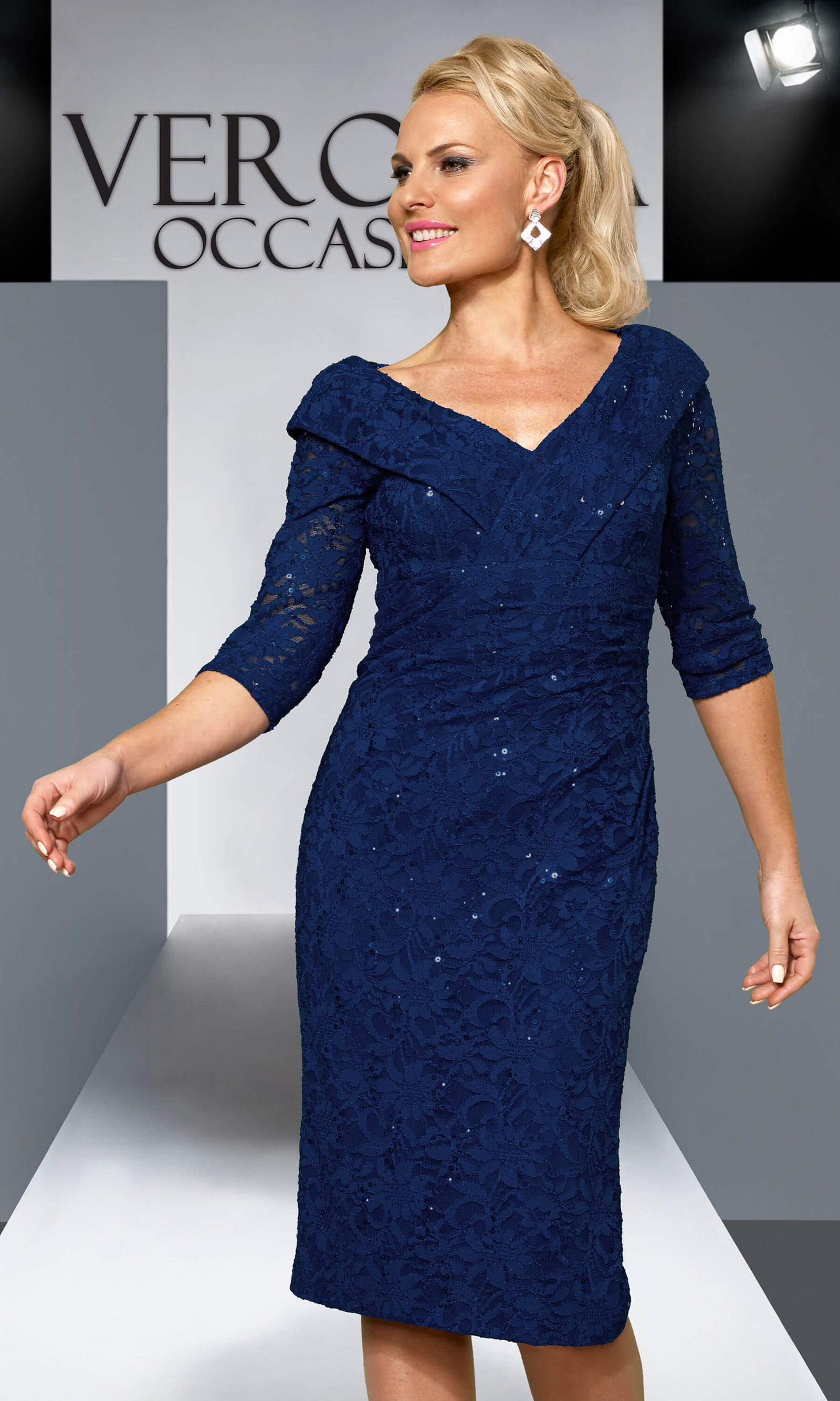 VO4576 Navy Veromia Occasions Lace Cocktail Dress - Fab Frocks