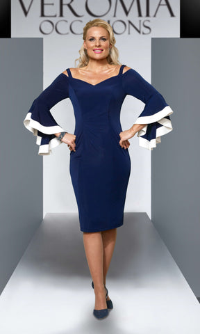 VO55GA9 Navy Ivory Veromia Occasions Cold Shoulder Dress
