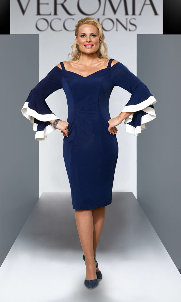 VO55GA9 Navy Ivory Veromia Occasions Cold Shoulder Dress - Fab Frocks
