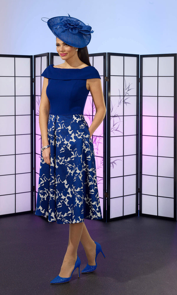 VO6362 Cobalt Blue Veromia Occasions Cap Sleeve Dress - Fab Frocks