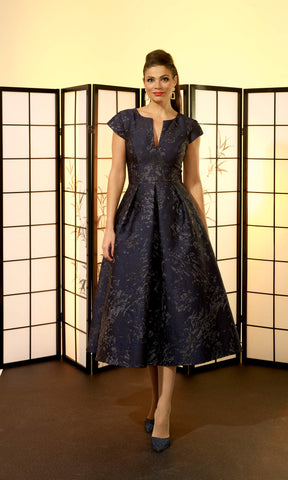 Veromia Occasions VO6371 Navy Blue Occasion A Line Dress - Fab Frocks