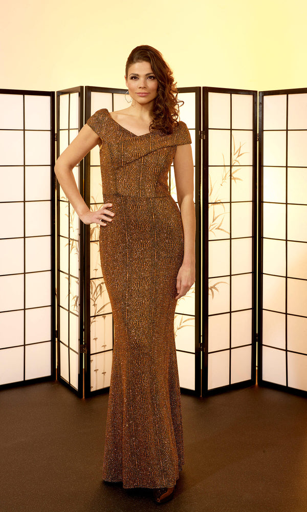 VO6405 Bronze Veromia Occasions Sparkle Evening Dress - Fab Frocks