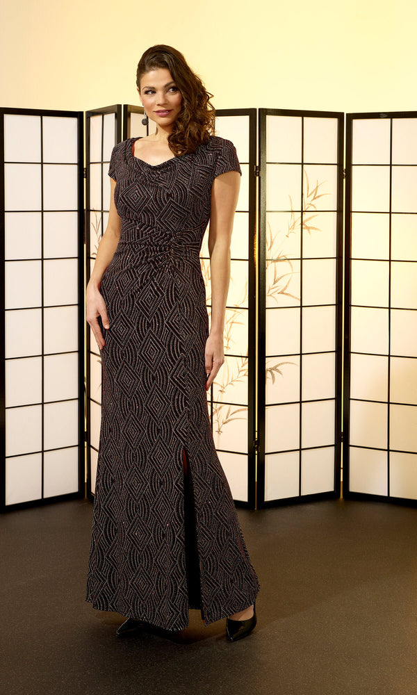 VO6408 Black Bronze Veromia Occasions Stretch Evening Dress - Fab Frocks