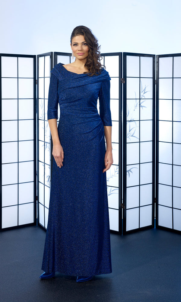 Veromia Occasions VO6410 Cobalt Metallic Evening Dress - Fab Frocks