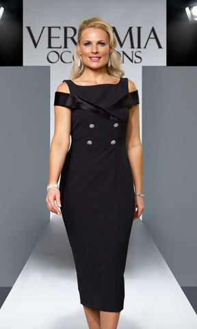 VO79G Black Veromia Occasions Tuxedo Inspired Dress - Fab Frocks