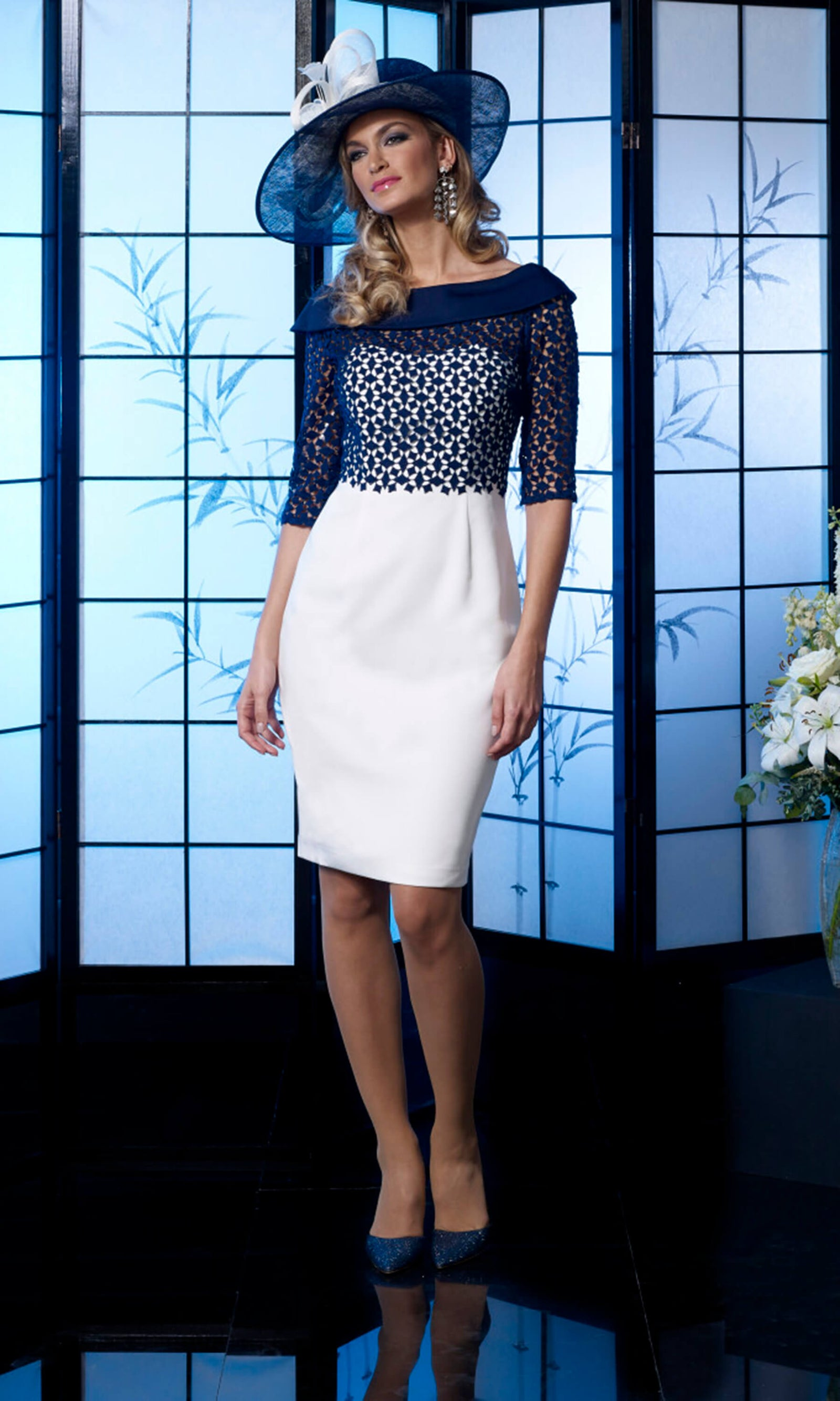 VO4992 Navy Ivory Veromia Occasions Dress With Sleeves - Fab Frocks