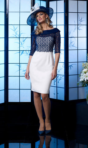VO4992 Navy Ivory Veromia Occasions Dress With Sleeves