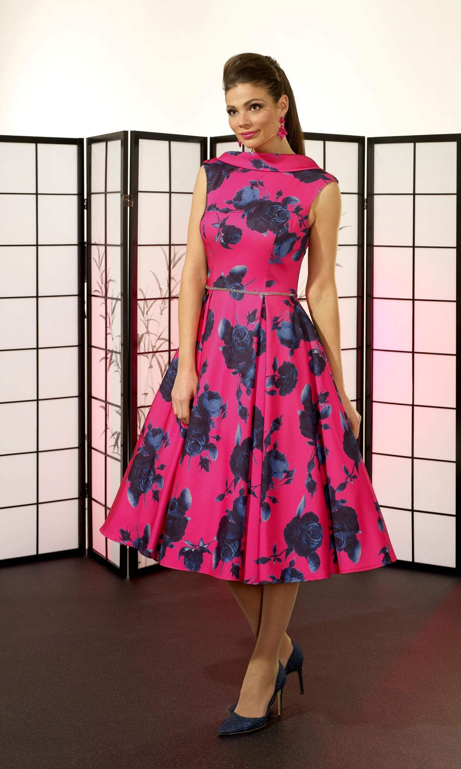 VO6419 Fuchsia Pink Navy Veromia Occasions Fifties Dress - Fab Frocks