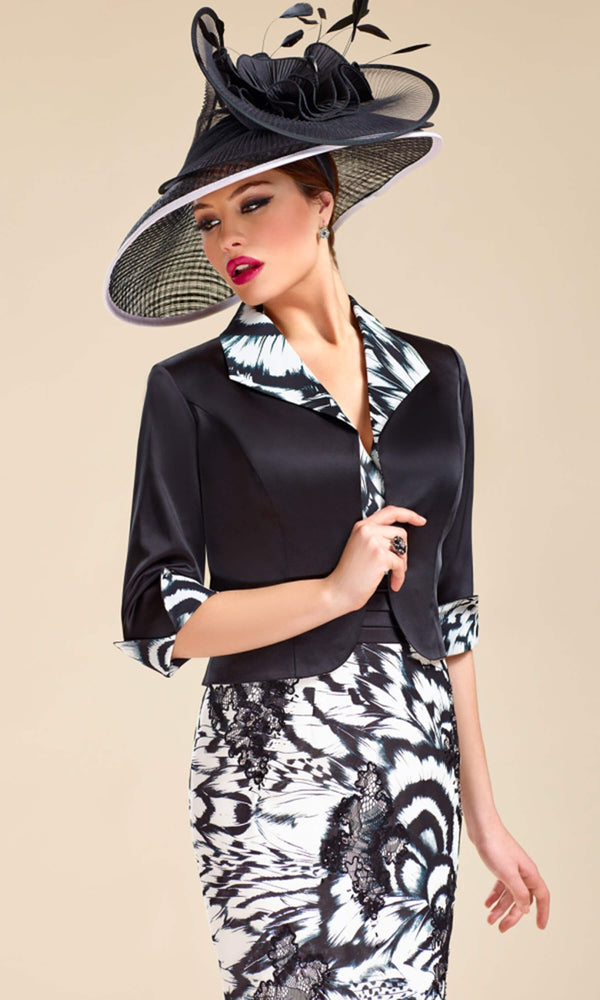 3018928 Black White Zeila Dress With Cap Sleeves & Bolero