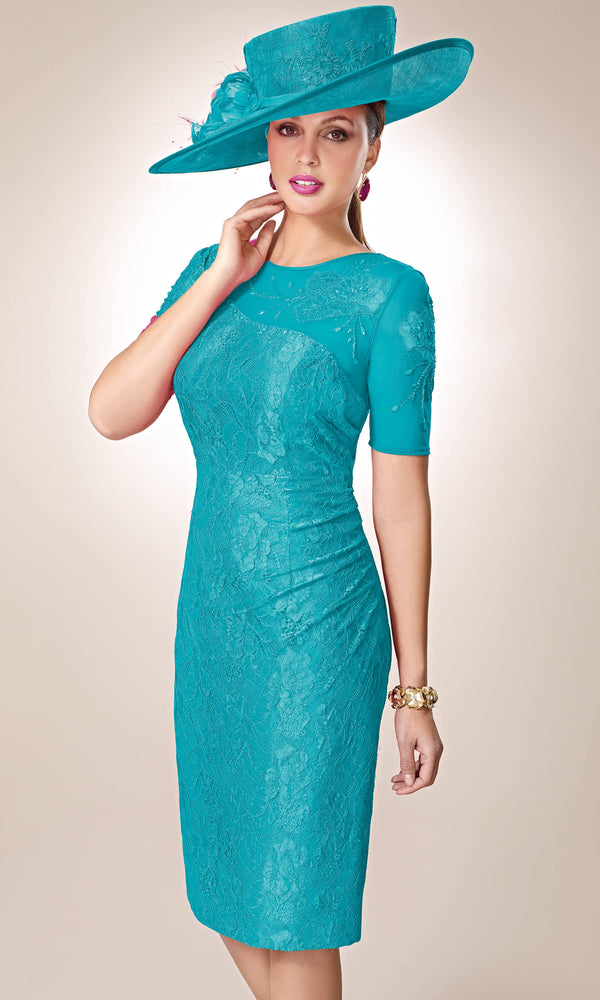 3019330 Turquoise Zeila Lace Dress With Sleeves & Bolero
