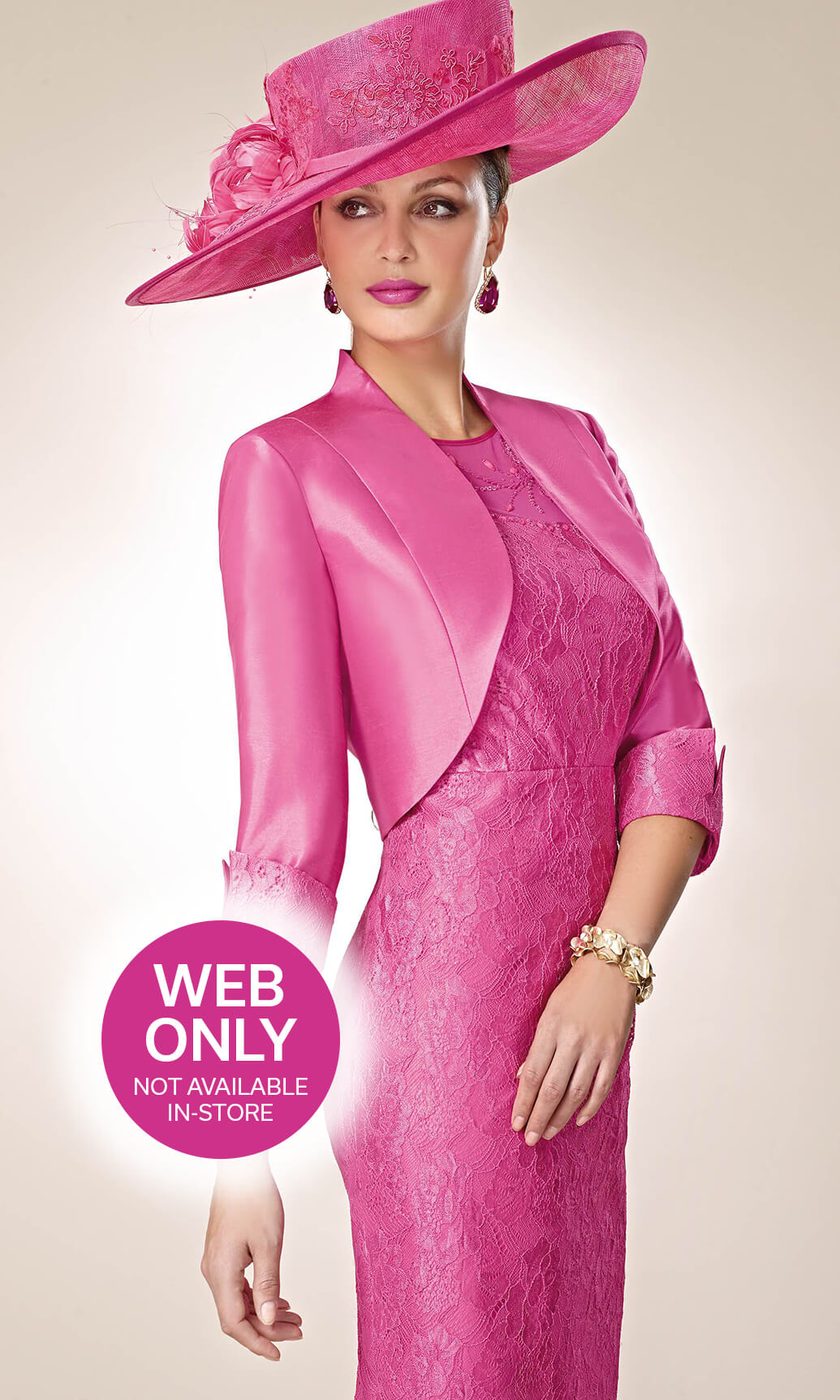 3019330 Fuchsia Zeila Lace Dress With Sleeves And Bolero