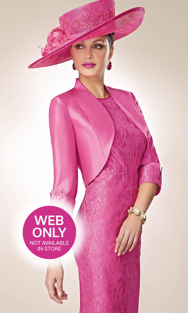 3019330 Fuchsia Zeila Lace Dress With Sleeves And Bolero - Fab Frocks