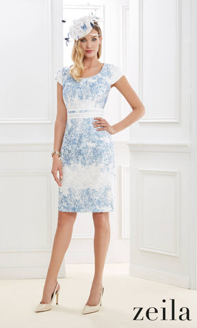 3020495 Cream Blue Zeila Cap Sleeve Dress With Bolero