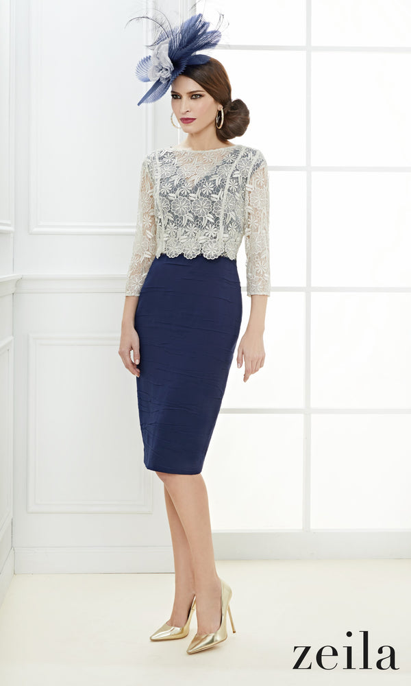 3020547 Navy Zeila Dress With Lace Reverse Top