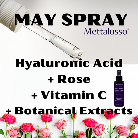 Mettalusso MAY SPRAY is hyaluronic acid rose and vitamin c skincare treatment