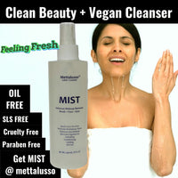 Mettalusso Mist Cleanser is oil free, sls free and EU approved. Use on eyes, face and makeup brushes.