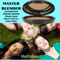Mettalusso MASTER BLENDER vegan clean beauty illuminating pressed powder for all skin tones.