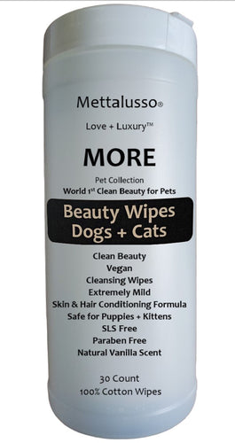 More Mettalusso Vegan Clean Beauty Pet Wipes 100% cotton cleansing cloths