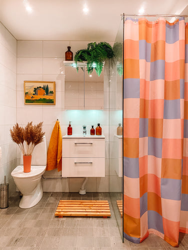 Salton Check Printed Shower Curtain