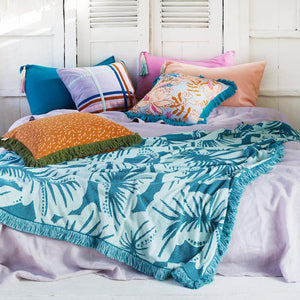 Pantai Tassel Pillowcase - Peacock