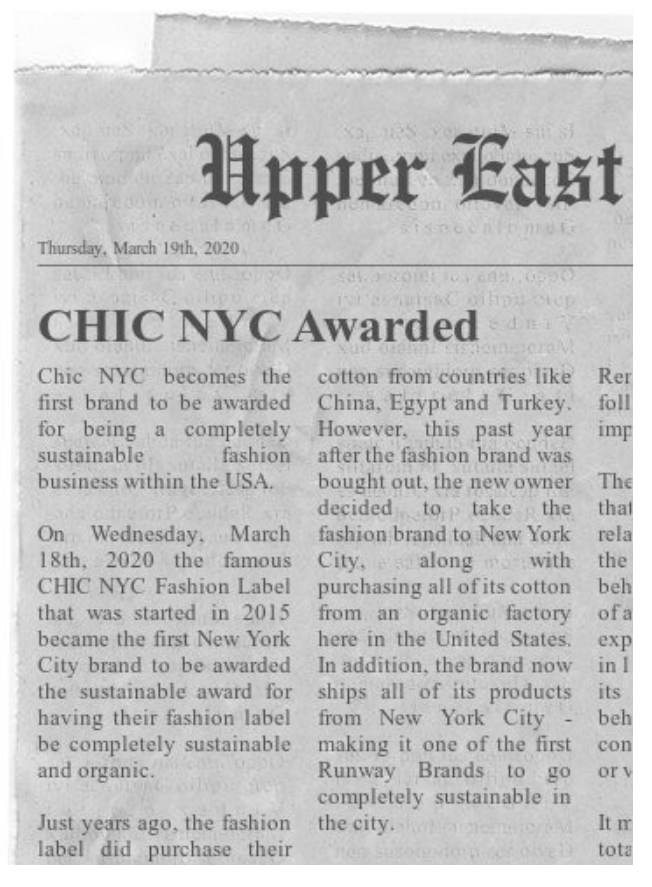 Chic NYC Awarded for being 100% organic
