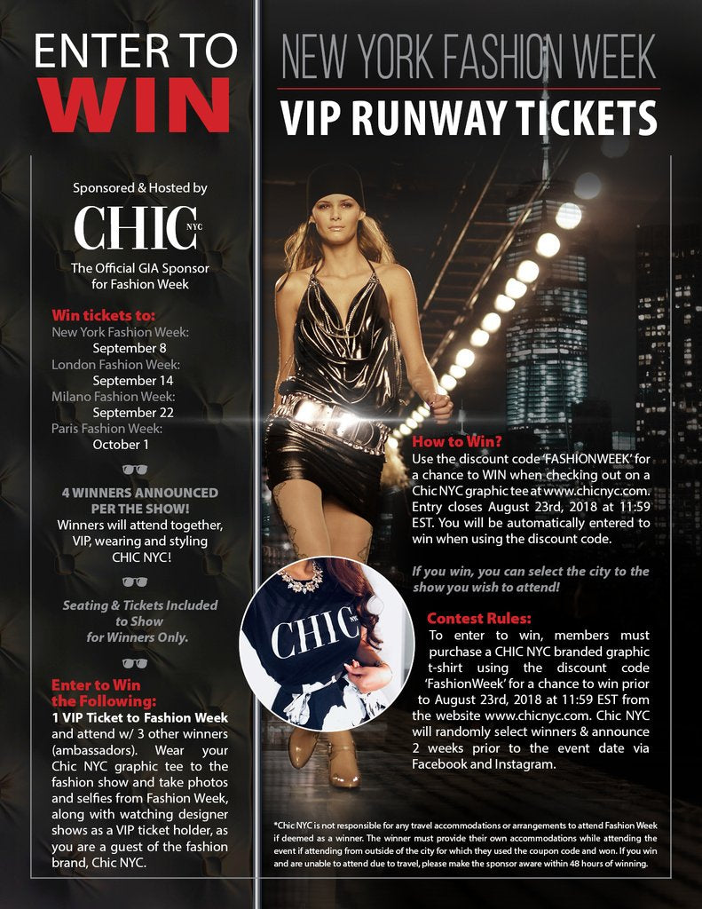 WIN Fashion Week Tickets from Chic NYC - A GIA | Global Influencer Agency Event