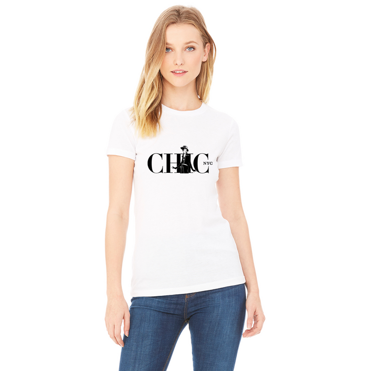 Chic NYC Paris Style Tee Shirt - WHITE