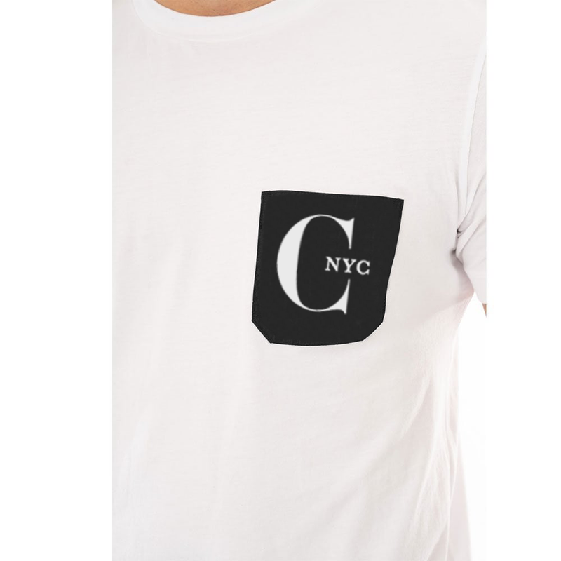 White T-Shirt with Black Pocket