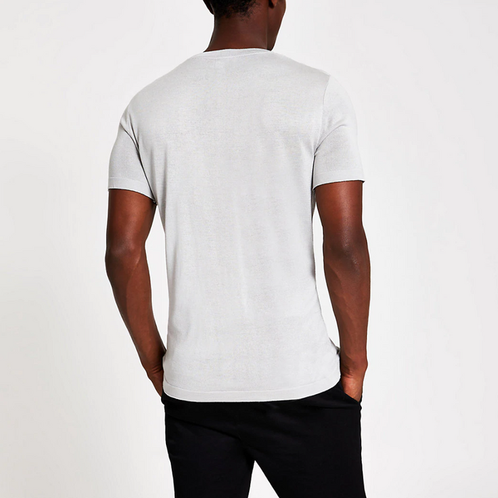 Casual Grey Colour Block T-Shirt