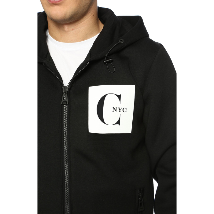 Hoodie Collar Black Sweatshirt with White Pocket