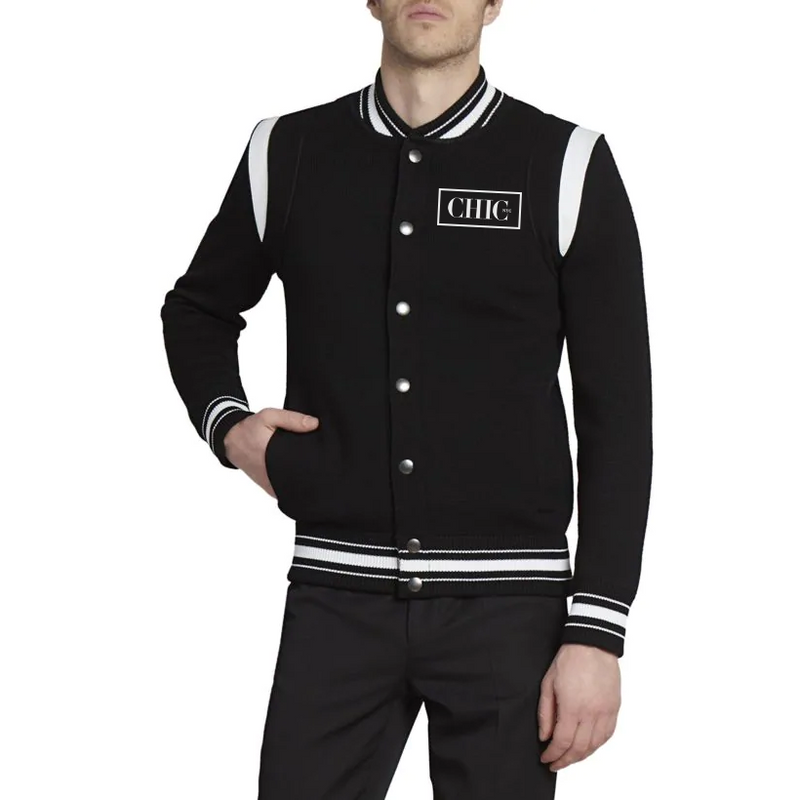 Black Bomber Jacket - Colorblock Stripe