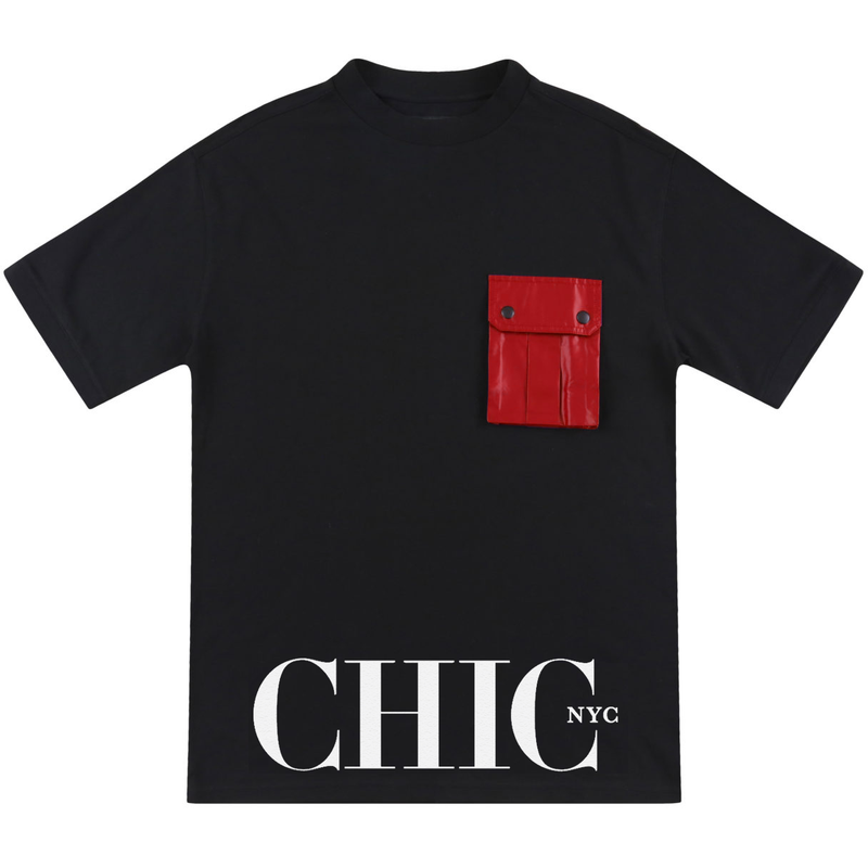 Black Oversize T-Shirt with Red Pocket