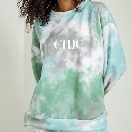 CHIC NYC Cloud Pattern Green Sweater