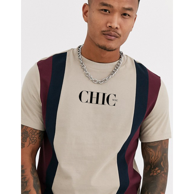 CHIC NYC MAN Beige T-Shirt with Stripes