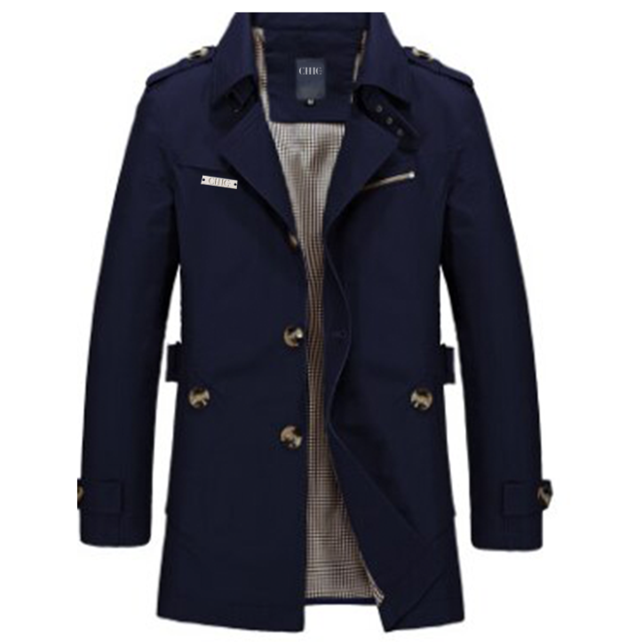 Cotton Navy Trench Coat