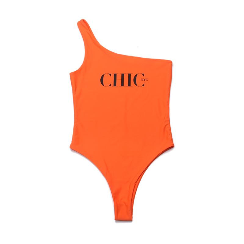 Chic NYC Orange One Piece - Off the Shoulder